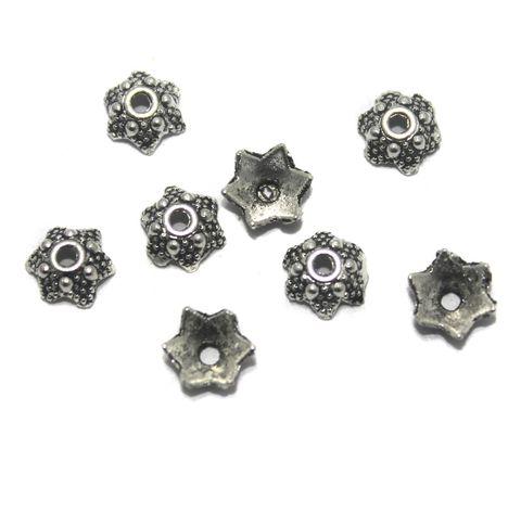 200 Pcs German Silver Bead Caps 6mm