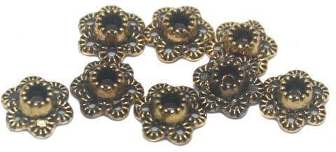 200 Pcs German Silver Golden Bead Caps 6x3mm