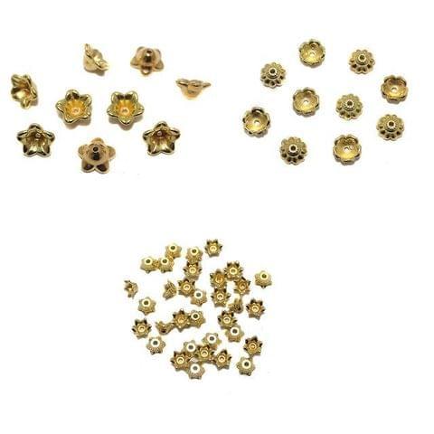 Silk Thread Jewellery Making Acrylic Bead Caps Combo 3 Size