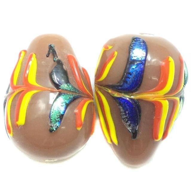 2 Fancy Drop Beads Peach 30x20mm