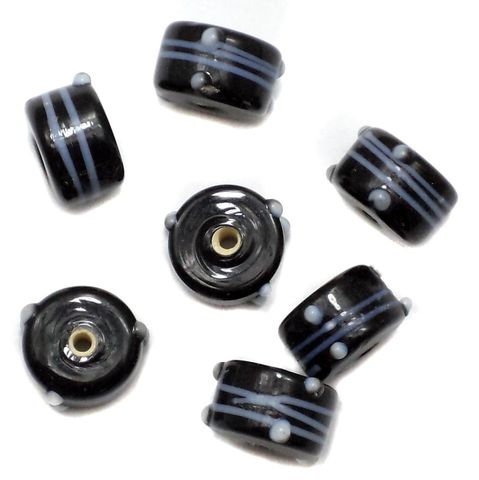 35+ Bump Dotted Tyre Beads Black 14x10mm