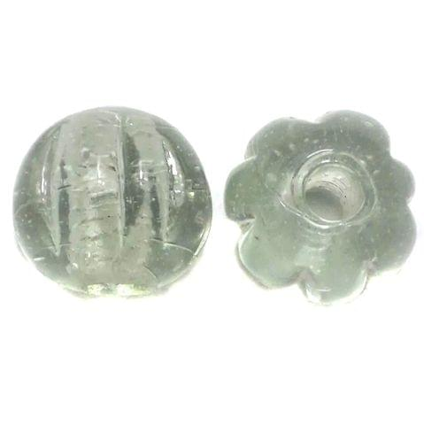 40+ Kharbooja Glass Beads White 20mm