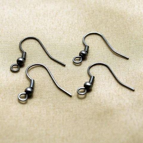 100 Nickel Ear Wire Black 20x7mm