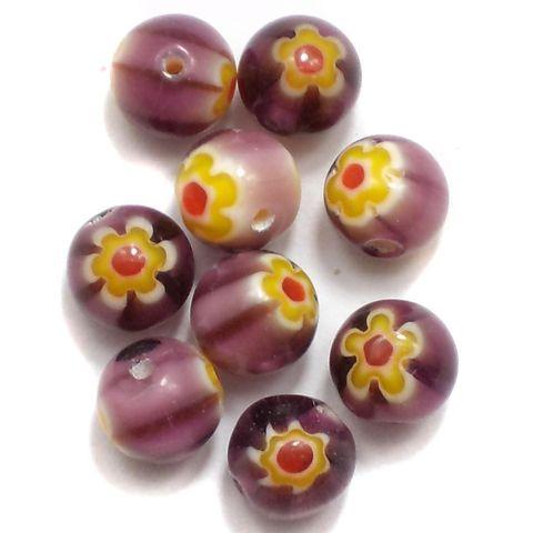100 Chevron Round Beads Purple 8mm