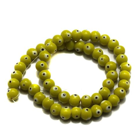 5 strings of Evil Eye Glass Round Beads Yellow 8mm