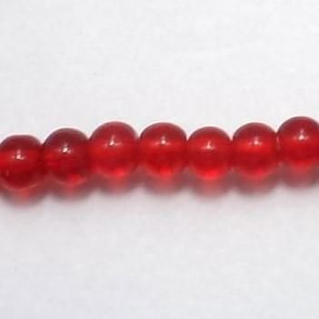 5 Strings Glass Round Beads Red 4 mm