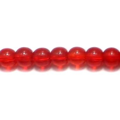 5 Strings Glass Round Beads Red 6 mm