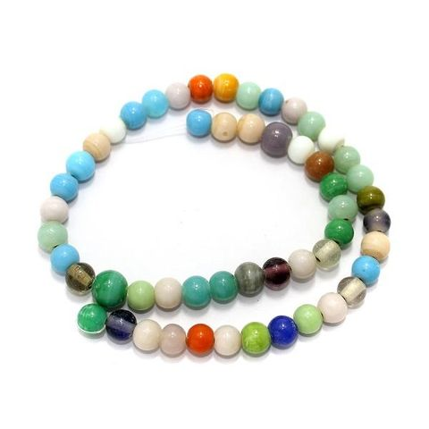 5 Strings Glass Round Beads Assorted 8mm