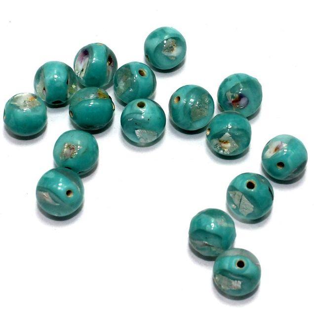 250 Millefiori Round Beads Turquoise 11mm