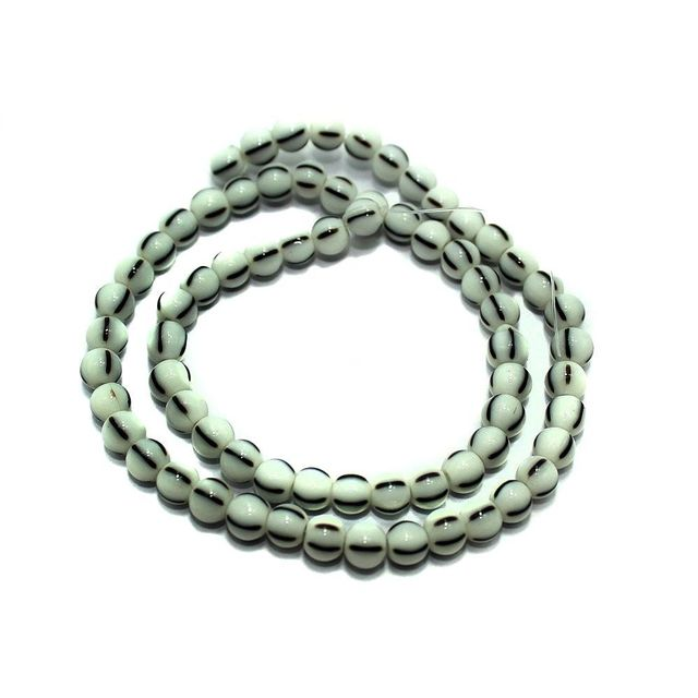 5 strings of Glass Round Beads Twin Color 6mm
