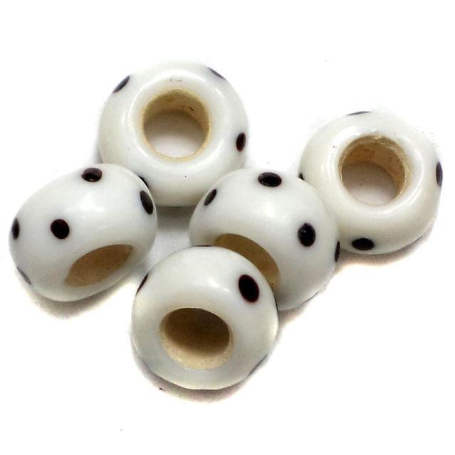 20 Pandora Beads White 8x14mm