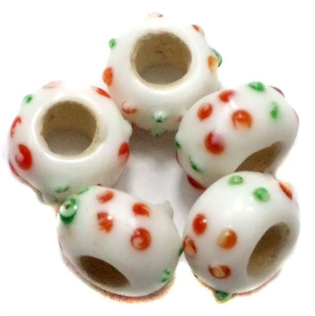 10 Pandora Beads White 8x14mm
