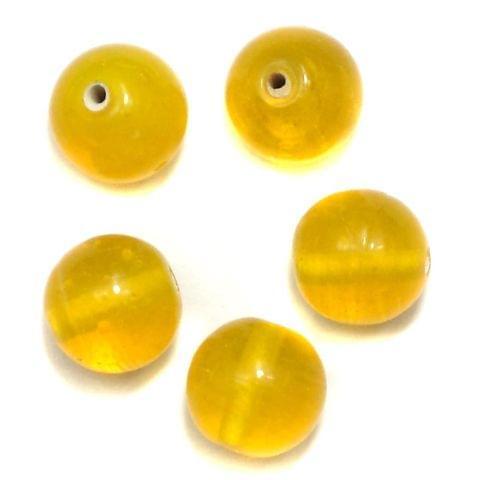 70+ Glass Round Beads Yellow 12mm