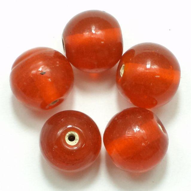 25+ Glass Round Beads Orange 14mm