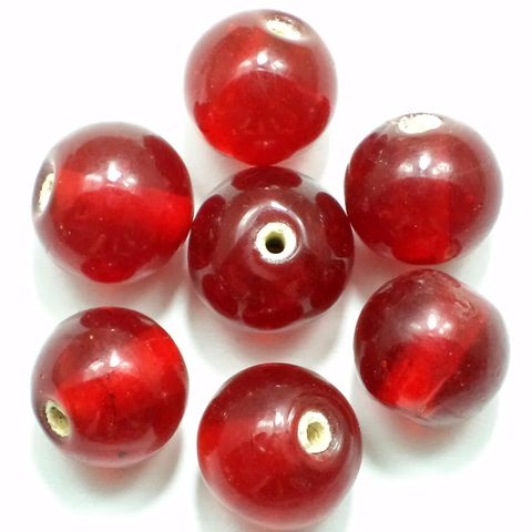 25+ Glass Round Beads Assorted Red 12-14mm