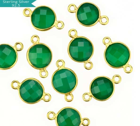 Green Onyx Round Connector, Pack of 2 Pcs.