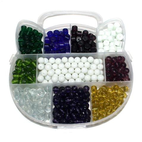 Glass Beads DIY kit for Jewellery Making, Beading, Arts and Crafts Work (11 Colors) (Size: 8 mm)