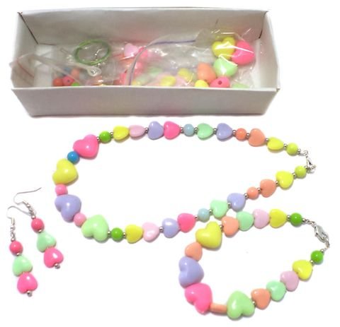 Kids Jewellery Making Heart Acrylic Beads DIY Kit