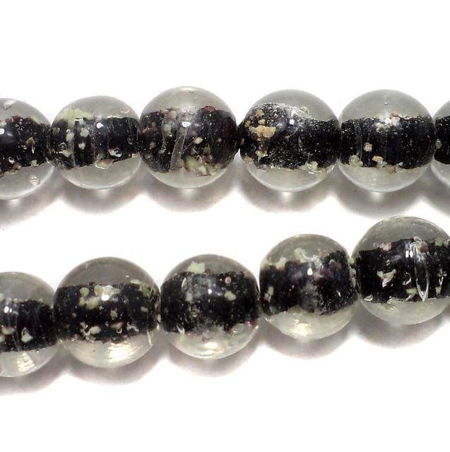 5 strings Radium Round Beads Black 12mm