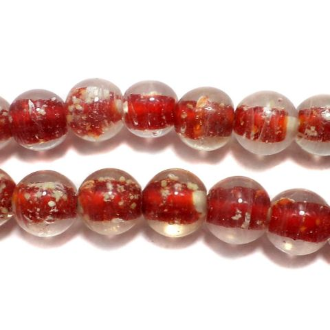 5 strings Radium Round Beads Red 10mm