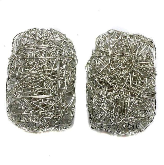5 Wire Mesh Rectangular Beads Silver Finish 45x25mm