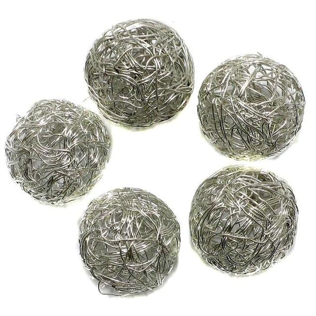 10 Wire Mesh Round Beads Silver Finish 20mm