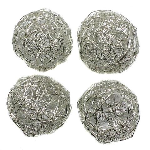 10 Wire Mesh Round Beads Silver Finish 25mm