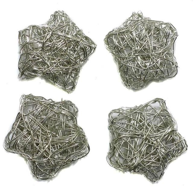 5 Wire Mesh Star Beads Silver Finish 25mm