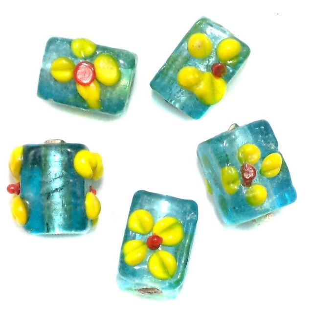 30+ Silver Foil Flower Fancy Beads Turquoise 14x10mm