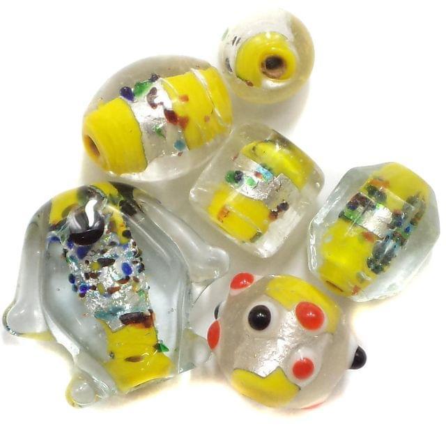 45+ Silver Foil Fancy Beads Yellow 8-20mm