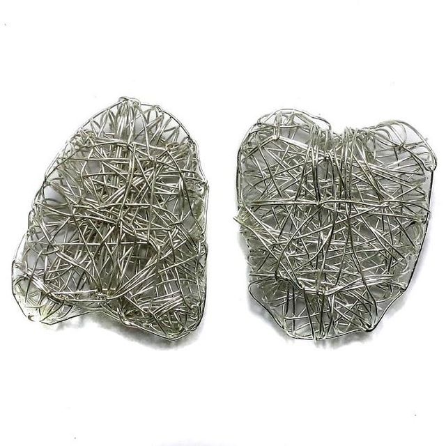 9 Wire Mesh Heart Beads Silver Finish 28x35mm