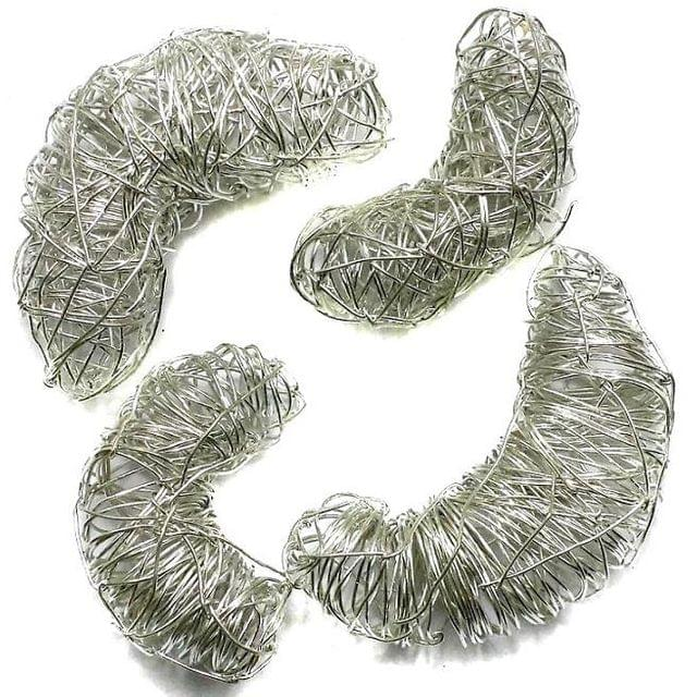 10 Wire Mesh Moon Beads Silver Finish 50x18mm