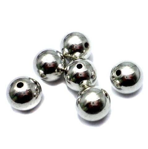 35+ CC Round Beads Silver Finish 14mm