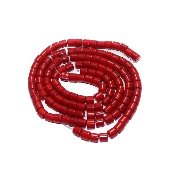 5 strings Glass Tyre Beads Red 5mm
