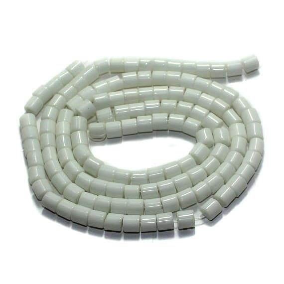 5 strings Glass Tyre Beads White 6mm