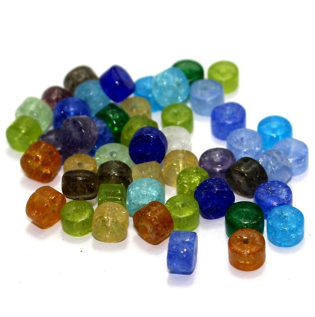 900+ Crackle Tyre Beads Assorted 6x4mm