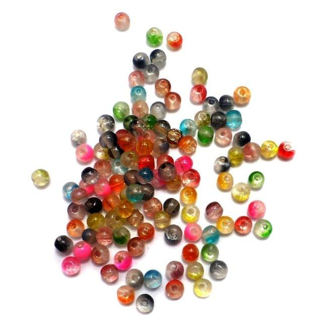 2600+ Crackle Round Beads Assorted 4mm