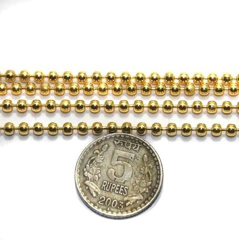 Metal Ball Chain Golden (Link size 3 ) 2 Mtrs