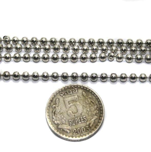 Metal Ball Chain Silver (Link size 3 ) 2 Mtrs