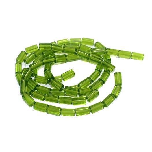 5 strings Glass Tube Beads Peridot 12x6mm
