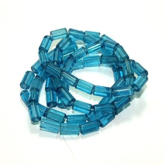 5 strings Glass Tube Beads Turquoise 12x6mm
