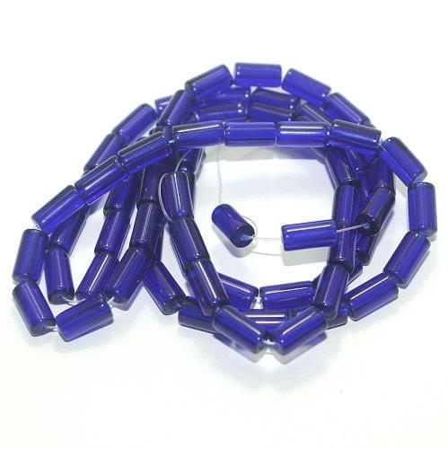 5 strings Glass Tube Beads Blue 12x6mm