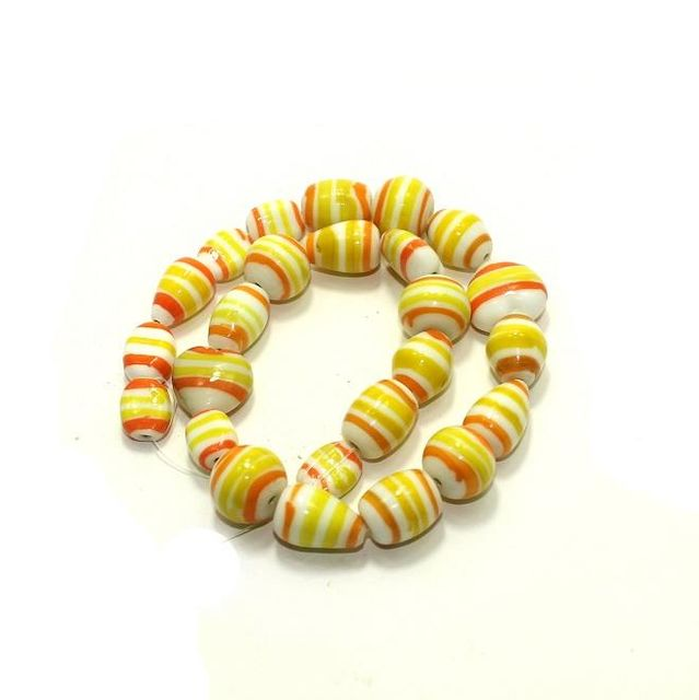 25+ Swirl Glass Beads Yellow