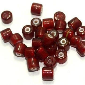 125+ White Heart Tyre Beads Red 6mm