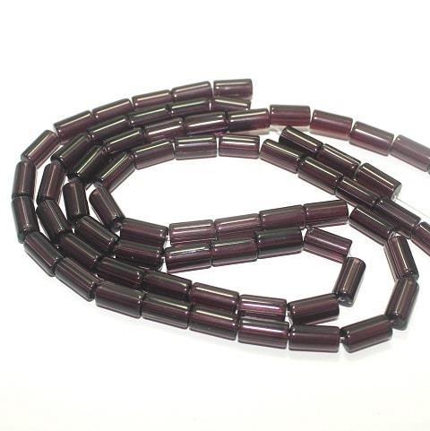 5 strings Glass Tube Beads Purple 12x6mm