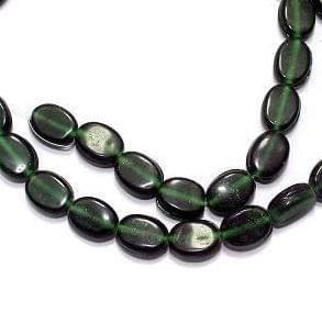 5 Strings Fire Polish Flat Oval Beads Dark Green 8x10mm