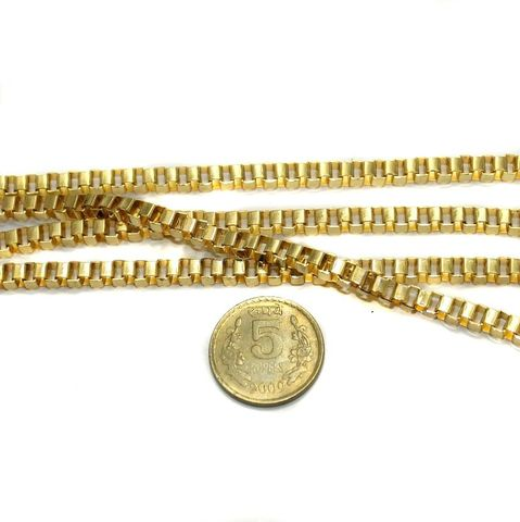Metal Box Chain Golden (Link size 4 ) 1 Mtr.