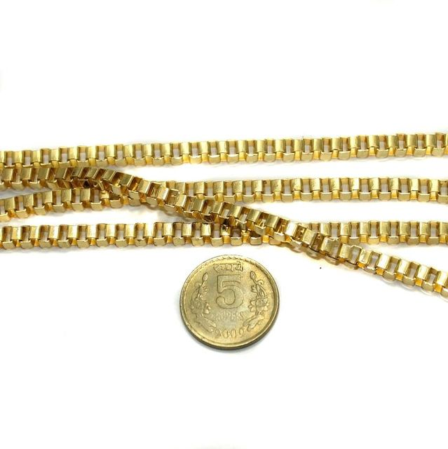 Metal Box Chain Golden (Link size 4 ) 1 Mtr.