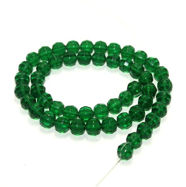 50+ Football Glass Beads Green 8mm