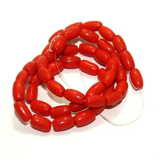 5 strings Glass Oval Beads Red 8x6mm
